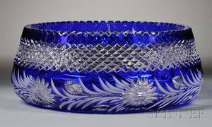 Cut Glass and Cobalt Center Bowl Attributed to Libby