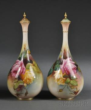 Pair of Royal Worcester Porcelain Handpainted Vases and Covers