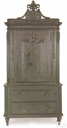 German painted pine wall cupboard ca 1820