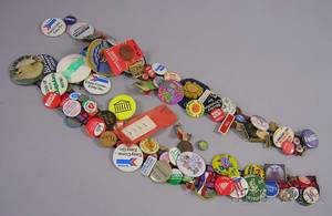 Collection of Mostly 1970s90 Buttons and Ribbons Two Spanish Bull Fighting Posters and a Spanish Menu Poster