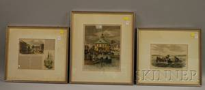 Eight Framed Mostly Handcolored 19th Century Periodical Illustrations Depicting Views of Rhode Island