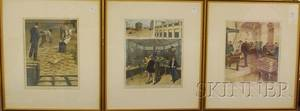 Set of Three Framed Handcolored 19th Century Periodical Illustrations Depicting Scenes at the US Treasury Building New York
