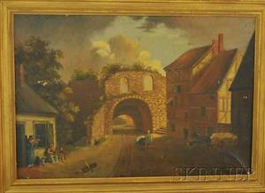 Framed 19th Century British School Oil on Canvas Village Scene