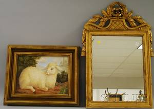 Neoclassical Carved Giltwood Mirror and Framed Oil on Canvas Portrait of a Sheep
