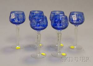 Set of Six Cobalt CuttoClear Glass Wine Stems