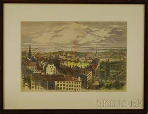 Framed Handcolored Map Essex County Massachusetts and Framed Handcolored Reproduction Birds Eye View of the City of Boston