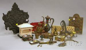 Fourteen IndoPersian Brass and Jeweled Metal Items Two Cloth Purses and a Carved Wooden Printing Panel