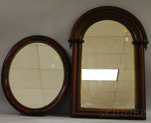 Victorian Archedtop Walnut Framed Mirror and a Late Victorian Oval Painted Framed Mirror