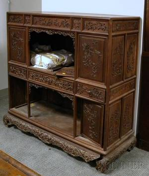 Chinese Export Carved Hardwood Cabinet
