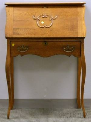 Late Victorian Oak Slatlid Ladys Writing Desk