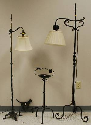 Wrought Iron Adjustable Bridge Floor Lamp a Brass Adjustable Bridge Floor Lamp a Wrought Iron Ash Stand and a Sheet Metal Cat Wea