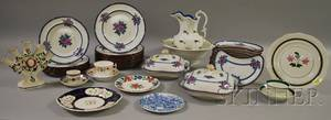 Thirtyseven Piece Copeland Spode Floral Transfer Decorated Ceramic Partial Dinner Service and Thirteen Pieces of Decorated Ceramic