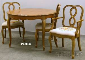 Provincial Louis XV Style Walnut Dining Table with Five Needlepoint Upholstered Chairs