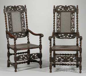 Pair of William  Mary Style Caned Carved Walnut Armchairs