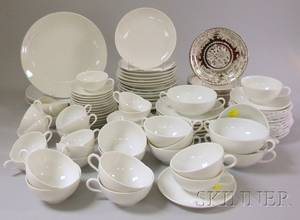 Eightyfive Piece Limoges White Porcelain Partial Dinner Set and a Set of Twelve Johnson Bros Silver Lustre Pareek Pattern Saucers