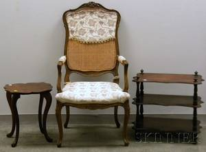 Louis XV Style Caned and Upholstered Bergere a Walnut WhatNot and an Oak Tabouret