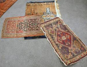 Southwest Persian Bagface and Two Oriental Rug Fragments