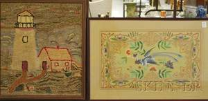 Framed Hooked Mat Depicting a Lighthouse and a Framed Chinese Silk Embroidered Panel