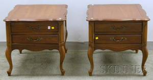 Pair of Louis XV Style Walnut and Walnut Veneer TwoDrawer End Tables