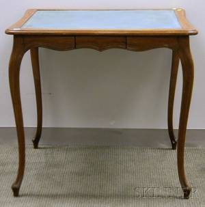 Provincial Louis XV Style Gilt Tooled Turquoise Leatherinset Carved Walnut Card Table