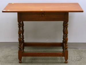 Colonial Revival Maple Stretcherbase Tavern Table with Drawer