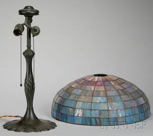 Patinated Cast Bronze Table Lamp Base and a Leaded Slag Art Glass Lamp Shade