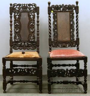 Two William  Mary Style Caned Carved Walnut Side Chairs