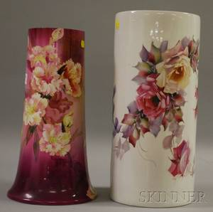 Handpainted Rose Decorated Cylindrical Porcelain Umbrella Stand and a Tall French Handpainted Floral Decorated Porcelain Vase