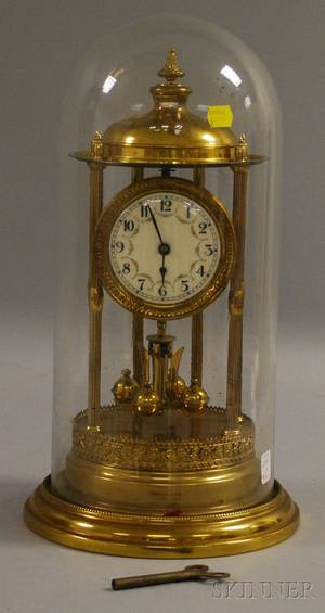 400day Torsion Pendulum Clock with Glass Dome