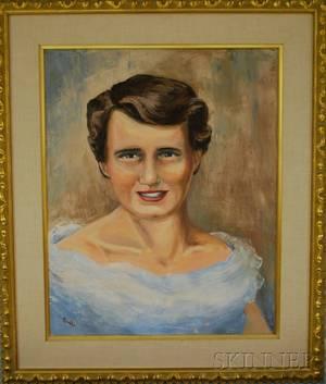 Framed 20th Century American School Oil on Canvas Portrait of Sally Dempsey