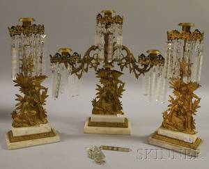 Threepiece Giltmetal Figural Girandole Set with Prisms