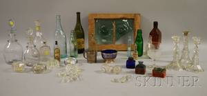 Group of Assorted Silver and Glass Table Items and Twelve Glass Bottles