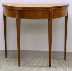 Federal Inlaid Mahogany and Mahogany Veneer Demilune Card Table