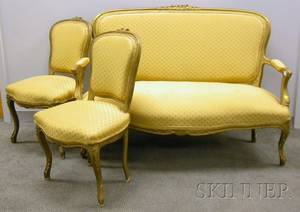Goldpainted Rococo Revival Upholstered Parlor Settee and a Pair of Side Chairs