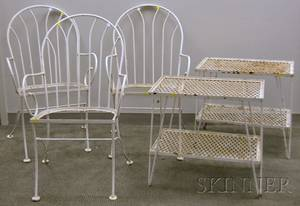 Set of Three Whitepainted Wrought Iron Patio Armchairs and a Pair of Stands