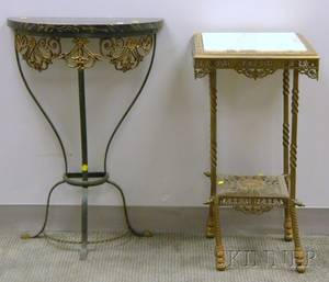 Victorian Onyxinset Cast Brass Stand and a Continentalstyle Demilune Marbletop Wrought Iron and Brass Pier Table