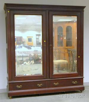 Late Victorian Cherry Mirrored TwoDoor Wardrobe Cabinet