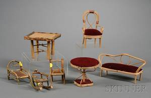 Group of Japanese Bamboo and Rattan Dollhouse Furniture