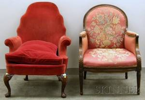 Queen Anne Style Upholstered Carved Mahogany Armchair and a Federalstyle Upholstered Inlaid Mahogany Armchair
