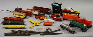 Lionel Work Train and Assorted Plastic and Metal Cars