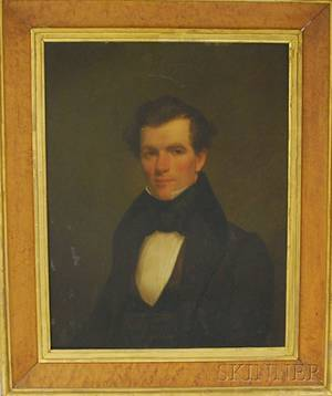 19th Century American School Oil on Board Portrait of a Young Gentleman