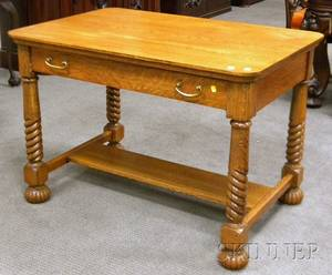 Late Victorian Carved Oak Library Table with Long Drawer