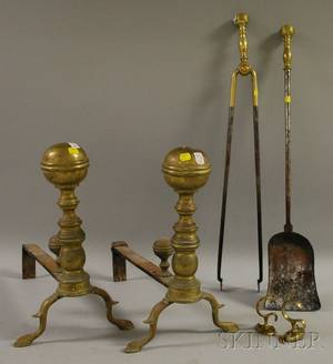 Pair of Brass Andirons Brasshandled Hearth Shovel and Tongs and a Pair of Brass Jamb Hooks