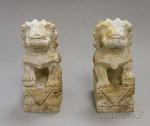 Pair of Chinese Carved Marble Garden Foo Dogs