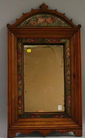 Walnut and Reversepainted Glass Framed Mirror