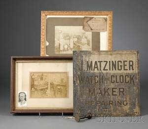 Four Items Relating to the John Matzinger Watch and Clock Shop