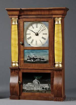 Miniature Mahogany SleighFront Shelf Clock by E O Goodwin