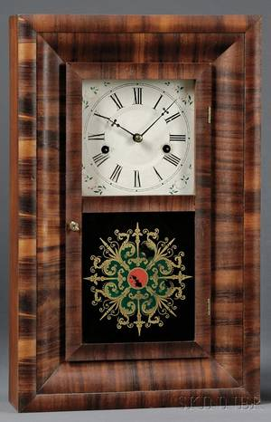 Miniature Mahogany Ogee Clock by Ansonia Brass Company
