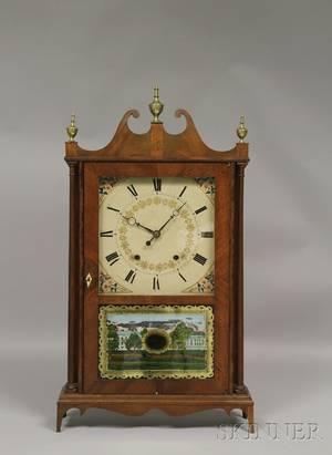 Mahogany Pillar and Scroll Clock by Eli and Samuel Terry