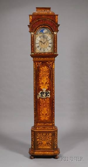 Walnut Veneered Marquetry Longcase Clock by William Jourdain